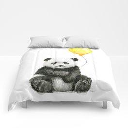 Panda Watercolor Animal with Yellow Balloon Nursery Baby Animals Comforters