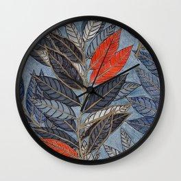 Feuilles Rouges I Wall Clock