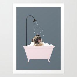 Laughing Pug Enjoying Bubble Bath Art Print