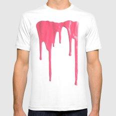 Pink Splatter White MEDIUM Mens Fitted Tee