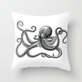 Octopus Black and White Throw Pillow
