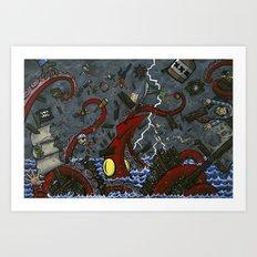 Giant Squid vs. Pirate Ship Art Print