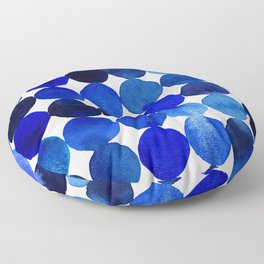 Blue Circles in Watercolor Floor Pillow