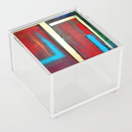 Blue, Red And Gold Modern Abstract Art Painting Acrylic Box