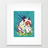 princess mononoke Framed Art Prints featuring Princess Mononoke by Stephanie Kao