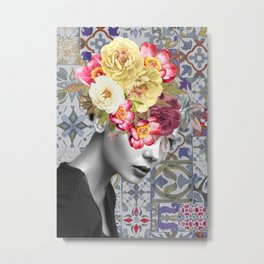 collage art-girl with flowers Metal Print