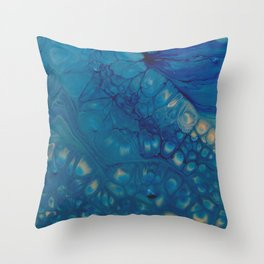 Dazzler - Blue Fluid Acrylic Abstract Throw Pillow
