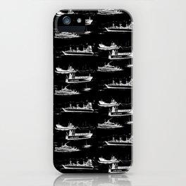 Mediterranean Ships - White on Black iPhone Case