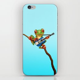 Tree Frog Playing Acoustic Guitar with Flag of El Salvador iPhone Skin