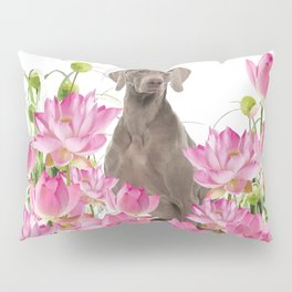 Weimaraner Lotos Flowers Pillow Sham