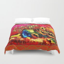 Festive Holiday Banquet Table, Sunflowers & Fruit  Painting Duvet Cover