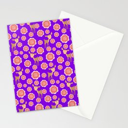 Little pretty baby fawns deer and dusty pink blooming roses seamless vintage retro purple pattern Stationery Cards