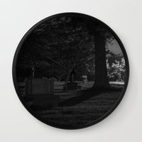 noir Wall Clocks featuring Noir by Derek Donovan