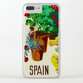 Retro Travel Poster - Spain Clear iPhone Case