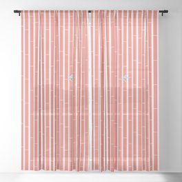 Bamboo Pattern ~ coral red Sheer Curtain