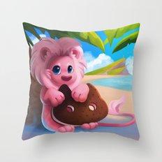 Lion on the Beach Throw Pillow
