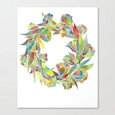 Colorful Floral Wreath Canvas Print