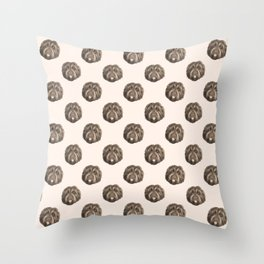 Midcentury Brown Shaggy Pooch Faces - Beige Theme Throw Pillow
