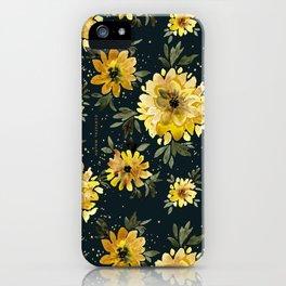 Sunflower Sparkle - black iPhone Case
