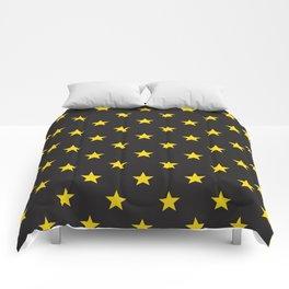 Stary Stars - Yellow on black background Comforters