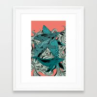 whales Framed Art Prints featuring Whales by melcsee