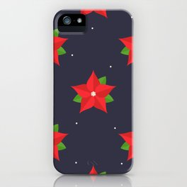 Poinsettia Christmas Pattern iPhone Case