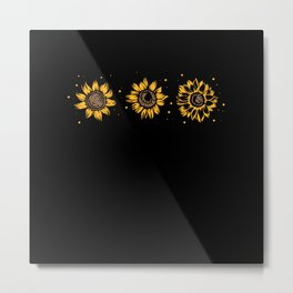Yellow Sunflower Floral Watercolor Positivity Metal Print