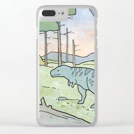Tyrannsaurus Rex and Volcano Clear iPhone Case