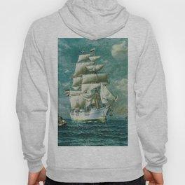 Vintage Large White Sailboat Painting (1895) Hoody