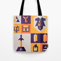 the legend of zelda Tote Bags featuring Legend of Zelda Items by Ann Van Haeken