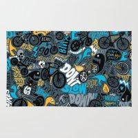 bikes Area & Throw Rugs featuring Bikes pattern by Chris Piascik