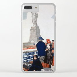Vintage Immigrants & Statue of Liberty Illustration (1917) Clear iPhone Case