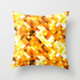 Golden Yellow Bright Squares Pattern Throw Pillow