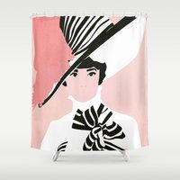 audrey hepburn Shower Curtains featuring Audrey Hepburn by Fräulein Fisher