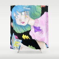video games Shower Curtains featuring vidja games by Caitlin Roberts