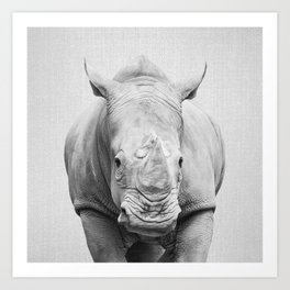 Rhino 2 - Black & White Art Print
