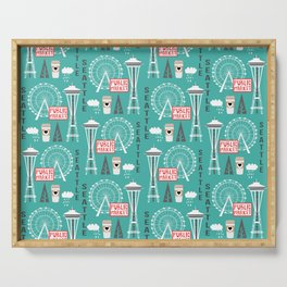 Seattle travel art cute decor for nursery kids room pattern girls or boys Serving Tray