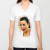kardashian V-neck T-shirts featuring Funny Cute Ugly Crying face iPhone 4 4s 5 5c 6, pillow case, mugs and tshirt by Greenlight8