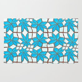 Spanish Tile Design In White And Turquoise Rug