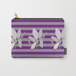 Grey Flowers-Abstract on Striped Purple Background Carry-All Pouch