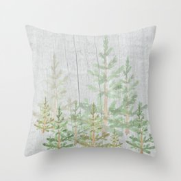 Pine forest on weathered wood Throw Pillow