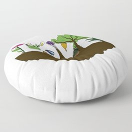 Love for Nature in Negative Space Floor Pillow