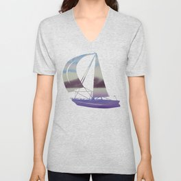 Mountain and Sea 4 / Watercolor Painting Unisex V-Neck