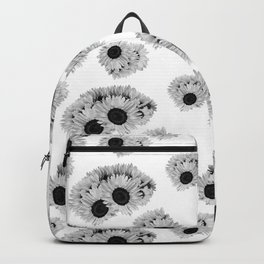 Gray Sunflower Floral Print Backpack