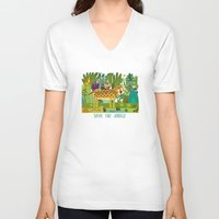 jungle V-neck T-shirts featuring Jungle by Milanesa