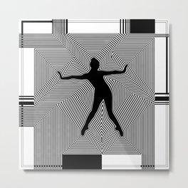 Modern Black Ballerina Silhouette Metal Print