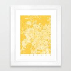 Santiago map yellow Framed Art Print