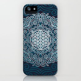 Flower Of Life (Silver Lining) iPhone Case