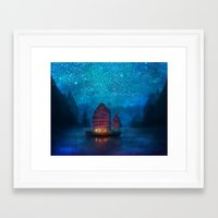 lights Framed Art Prints featuring Our Secret Harbor by Aimee Stewart