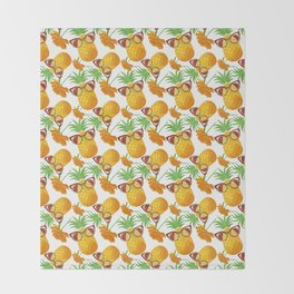 Pineapples with Glasses Throw Blanket